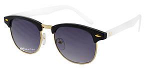 Солнцезащитные очки Ray Ban Clubmaster Клабмастер черные с белой душкой (репліка)