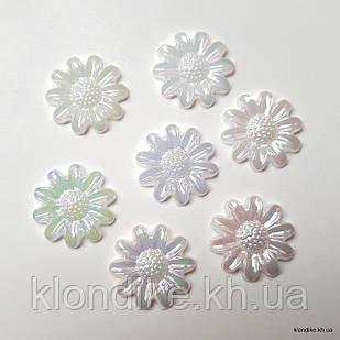 """Полубусины """"Цветочки"""",  Акрил, 12 мм, Цвет: AB Белый (50 шт.)"""