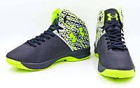 ХИТ! Обувь для баскетбола мужская Under Armour (EUR 44, стелька 27,8 см) Последний размер (черный-салатовый)
