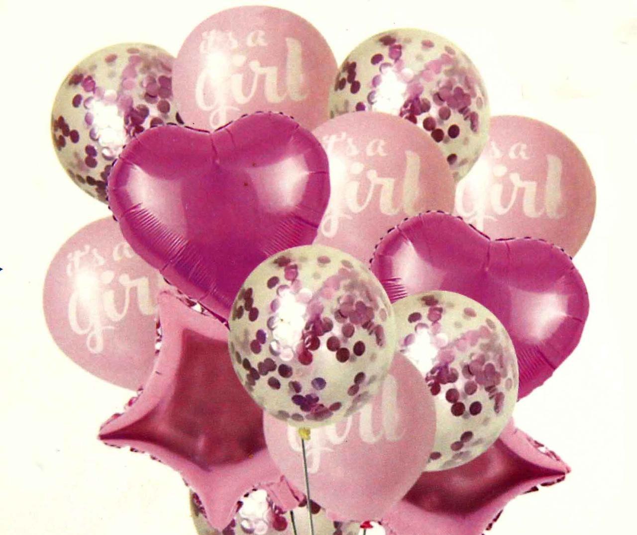 """Набор (фонтан) воздушных шаров """"It's  CIRL"""" с конфетти 14 шт."""