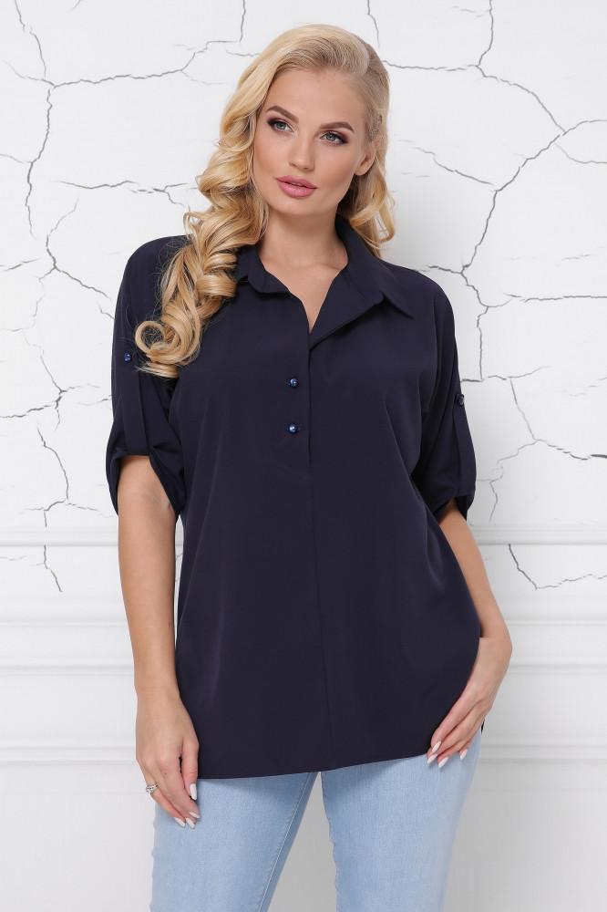 Темно-синяя женская блуза с разрезами