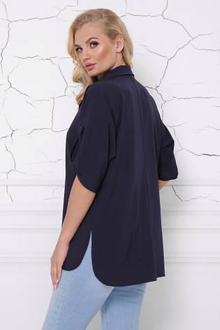Темно-синяя женская блуза с разрезами, фото 2