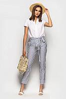 Стильные льняные брюки–дудочки 49110 (42–46р) в расцветках.