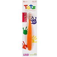 "Детская зубная щетка RADIUS ""Totz Toothbrush"" от 18 месяцев, экстра-мягкая, оранжевая"