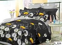 Темное постельное белье семейного размере с большими одуванчиками.