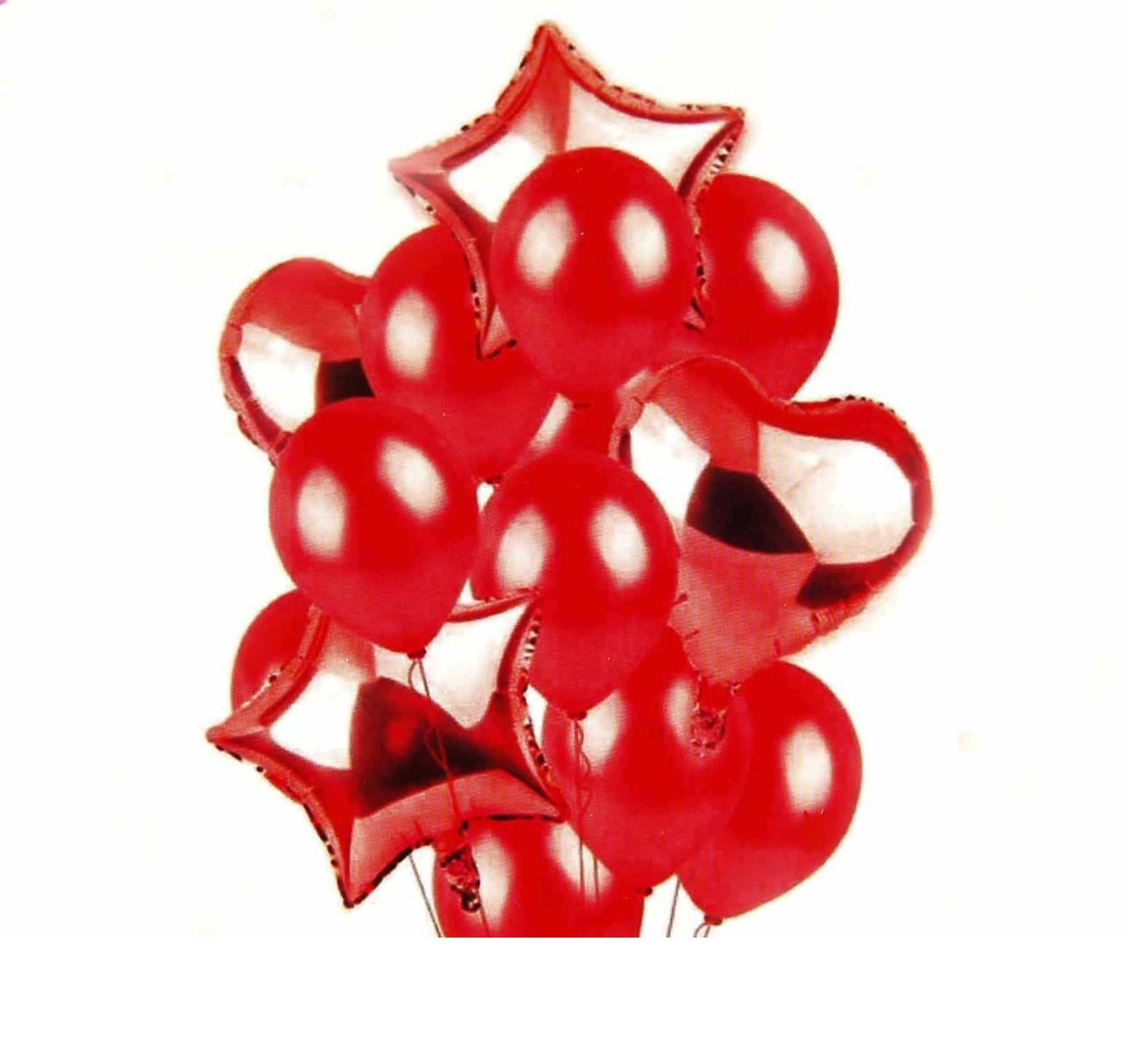 Набор воздушных и фольгированных шаров Красный микс .14 шт.