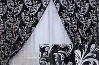 Комплект штор без ламбрекену Катрін-202 чорний/сірий, фото 1