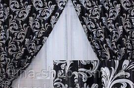 Комплект штор без ламбрекену Катрін-202 чорний/сірий
