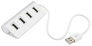 Концентратор USB HUB хаб Dellta на 4 порта металлический Silver