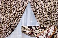 Комплект штор без ламбрекена Катрин-203 шоколадный/коричневый, фото 1
