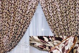 Комплект штор без ламбрекена Катрин-203 шоколадный/коричневый