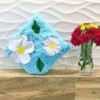 Подушка декоративная Ромашки Голубая, зеленая