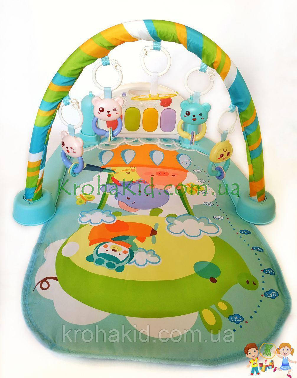 Детский развивающий коврик с пианино и дугой с подвесками, со звуковыми эффектами, 9903AB