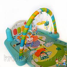 Детский развивающий коврик с пианино и дугой с подвесками, со звуковыми эффектами, 9903AB, фото 2