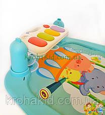 Детский развивающий коврик с пианино и дугой с подвесками, со звуковыми эффектами, 9903AB, фото 3
