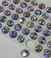 Ювелирные стразы конусные. Стекло. RIVOLI Premium Violet AB 10мм