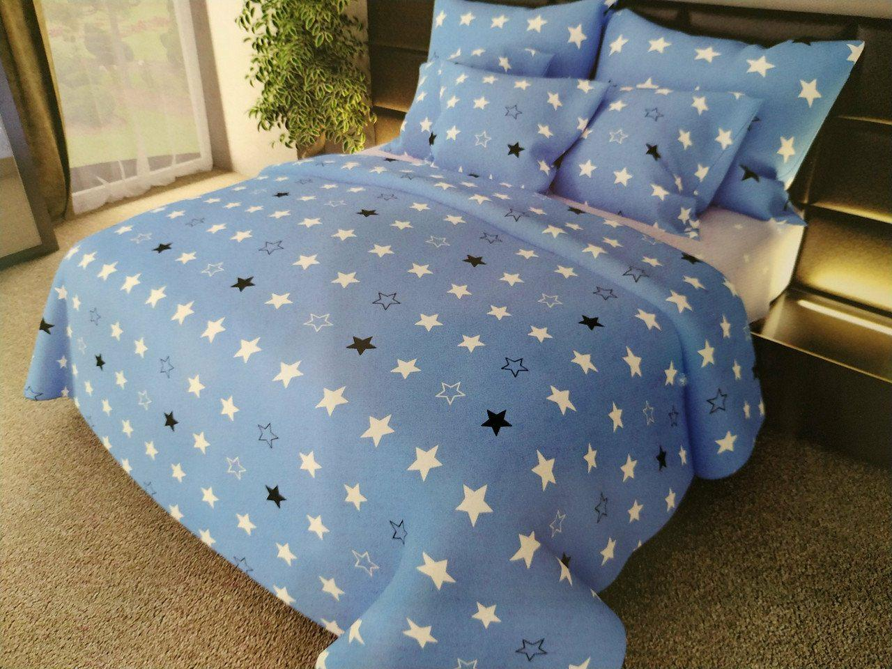 Звездный комплект постельного белья семейного размера из бязи голд.