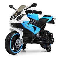 Детский электроМотоцикл с подсветкой колес Bambi M 4103-1-4 бело-синий