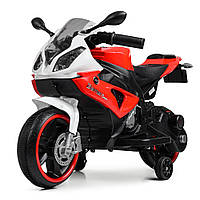Детский электроМотоцикл с подсветкой колес Bambi M 4103-1-3 бело-красный