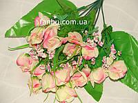 Искусственный большой букет роз двуцветный №1 (розово-красный)