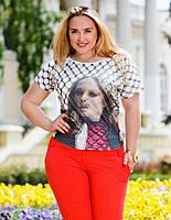 """Летняя стильная женская футболка до XL""""3-Д"""""""