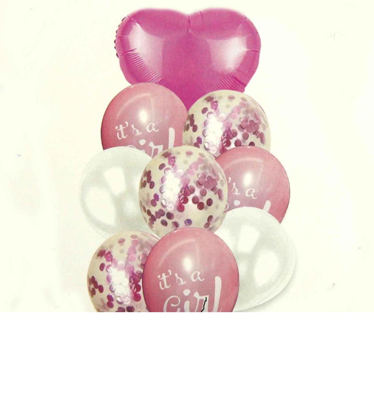 "Набор (фонтан) шаров ""It's GIRL"" с конфетти, 10 шт Китай"