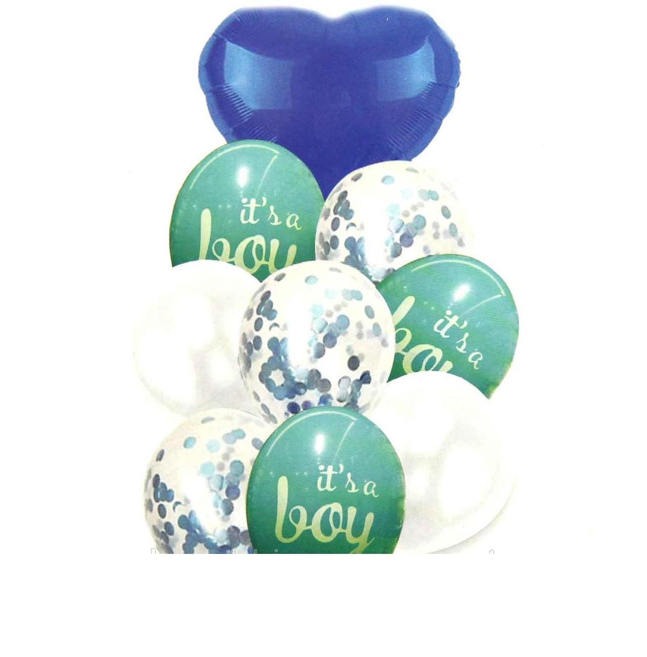 """Набор (фонтан)  шаров """"It's BOY""""с конфетти,10 шт .Китай ."""