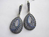 Серебряные серьги-висюльки с  синим камнем Вивьен, фото 1