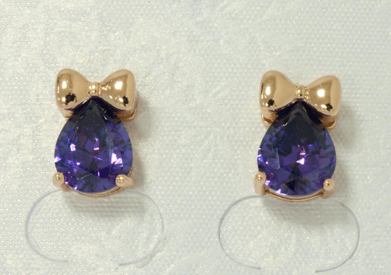 Серьги с фиолетовым цирконием, позолота