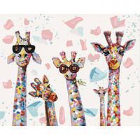 """Картина по номерам """"Веселые жирафы"""" КНО4115 scs"""