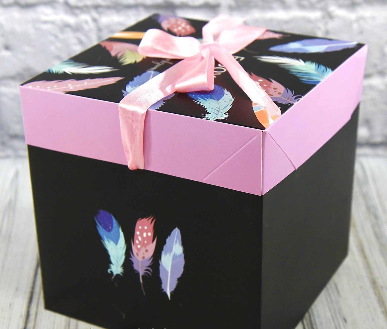 Подарочная коробка складная с лентой (10,5*10,5*10,5 см)   ( поштучно)
