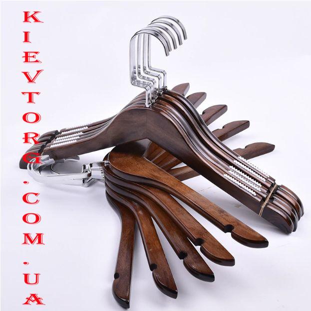 Плечики вешалки деревянные с прорезиненным плечом (цвет орех), 38 см