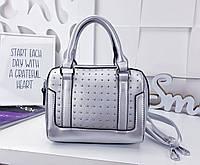 Женская сумка-клатч цвета серебро, из искусственной кожи