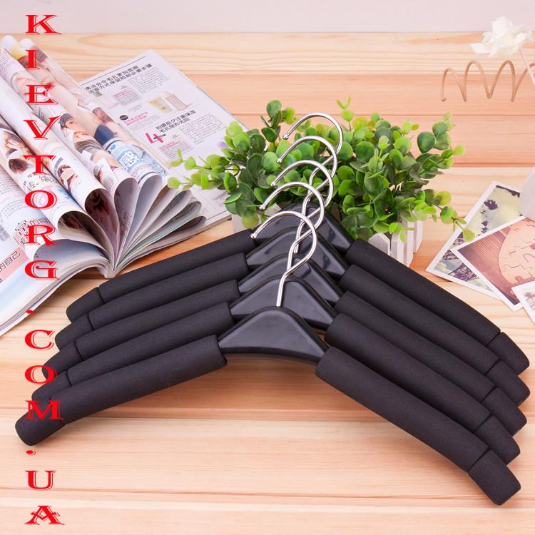 Плечики вешалки поролоновые мягкие черные с черной вставкой