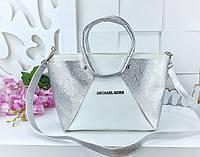 Женская сумка в цвете белый+серебро с переливом, из искусственной кожи (под бренд)