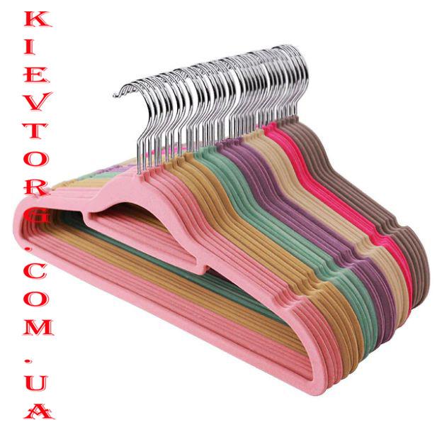 Плечики вешалки флокированные (бархатные, велюровые) все цвета, длина 400 мм