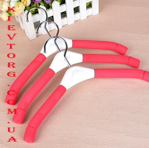 Вешалки плечики детские поролоновые 30 см красного цвета