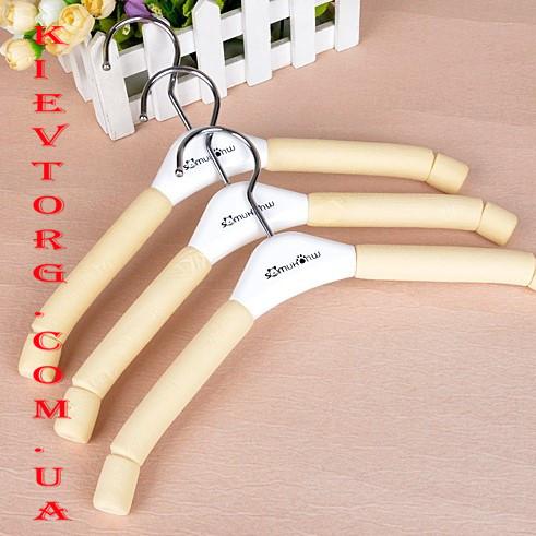 Вешалки плечики детские мягкие поролоновые бежевые, 30 см