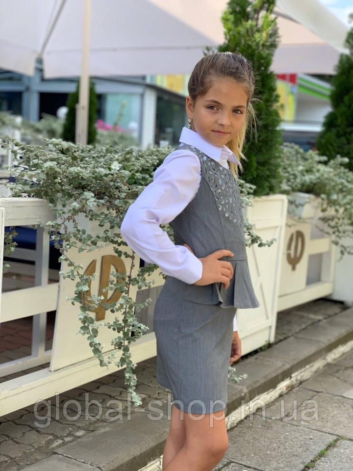 """Сарафан школьный для девочки  """"Перфорация""""  , рост 128;134;140;146см , 3 цвета, код 0655"""
