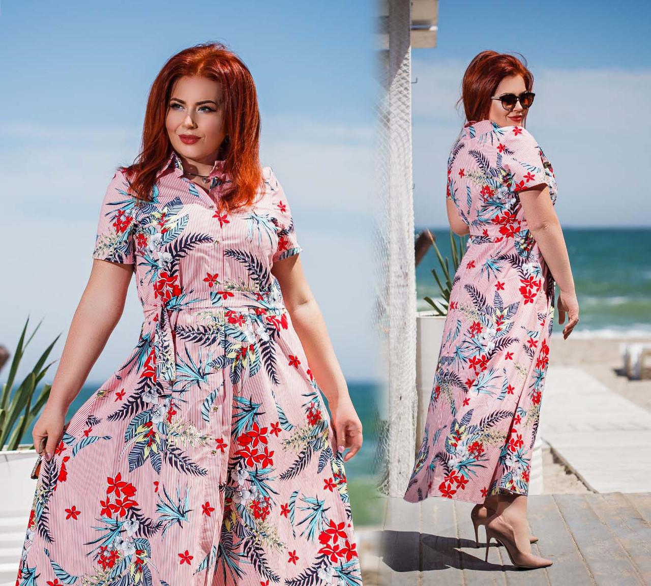 """Женское летнее стильное платье в больших размерах """"Коттон Полоска Цветы Макси"""" в расцветках (DG-ак0430)"""