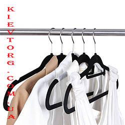 Плечики вешалки флокированные (бархатные, велюровые) черные, длина 420 мм 5 штук