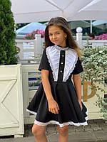 Платье черное школьное жабо для девочки , цвет Черный, ( 122.128.134.140 рост), код 0747