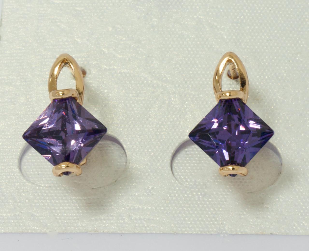 Серьги позолота с фиолетовым цирконием