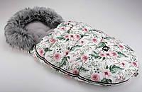 Зимний конверт Cottonmoose Moose  limited softshell (белый цветы), фото 1