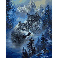 Картина раскраска по номерам на холсте 40*50см Babylon VP1130 Зимние волки