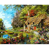 Картина раскраска по номерам на холсте 40*50см Babylon VP1161 Домик на берегу озера
