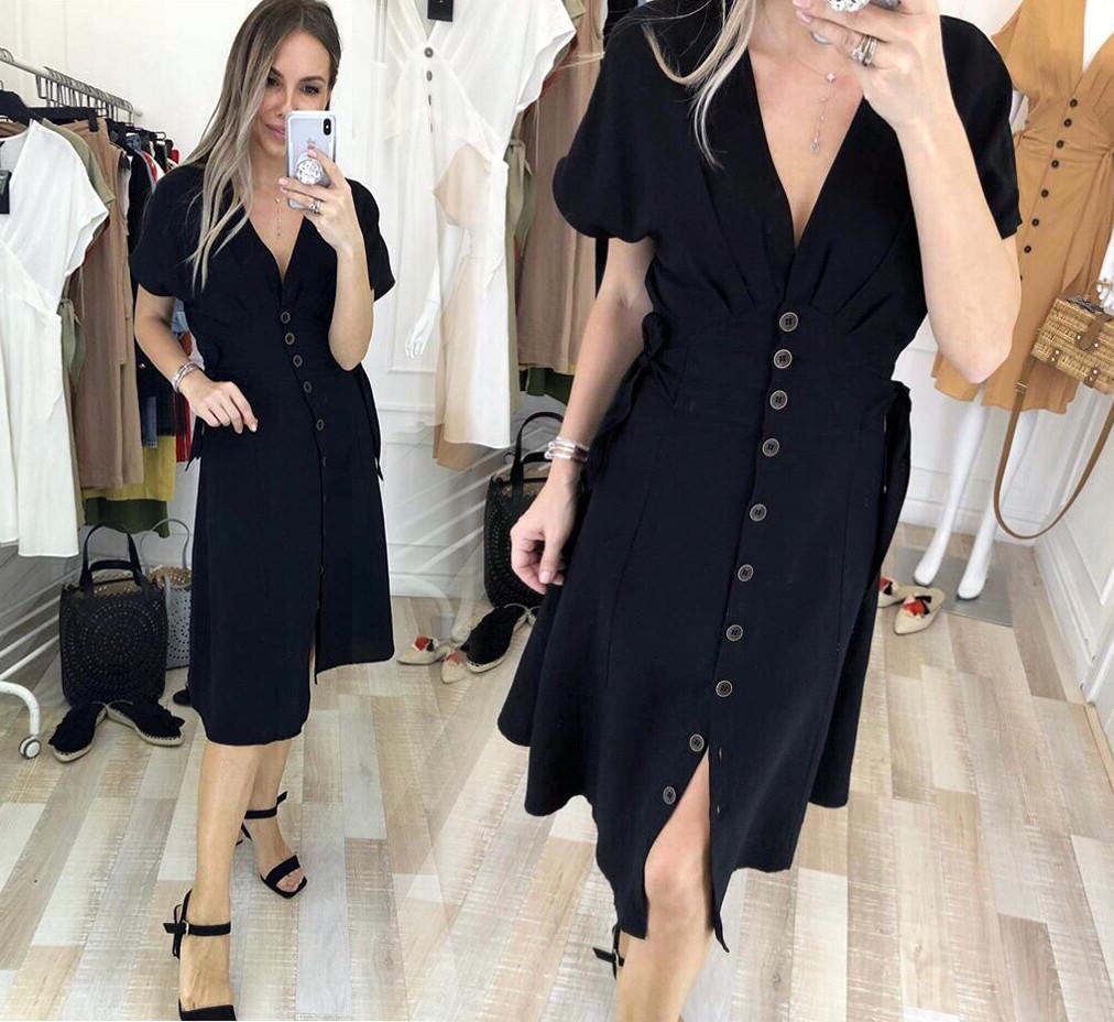 """Женское стильное летнее платье в больших размерах 455-1 """"Софт Пуговицы Завязки"""" в расцветках"""