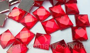 Стразы термоклеевые, Квадрат 8*8 мм, Siam (красные)