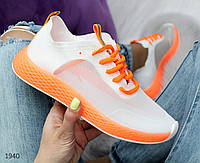 Яркие летние неон оранжевые кроссовки