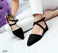 Женские черные замшевые туфли на низком каблуке